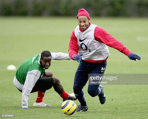 Thierry Henry of Arsenal during training before the UEFA Champions League Group E match between Arsenal and Rosenborg at London Colney on December 6...