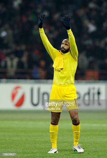 Thierry Henry of Arsenal FC during the UEFA Champions League round of 16 first leg match between AC Milan and Arsenal FC at Stadio Giuseppe Meazza on...