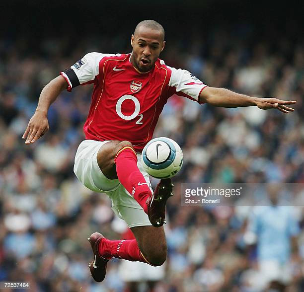 Thierry Henry of Arsenal in action during the Barclays Premiership match between Manchester City and Arsenal at the City of Manchester Stadium on...