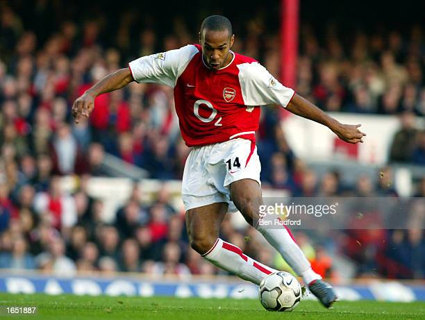Thierry Henry of Arsenal in action during the FA Barclaycard Premiership match between Arsenal and Tottenham Hotspur on November 16 2002 played at...