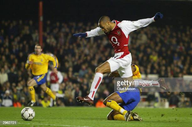Thierry Henry of Arsenal in action during the FA Barclaycard Premiership match between Arsenal and Southampton at Highbury on February 10 2004 in...