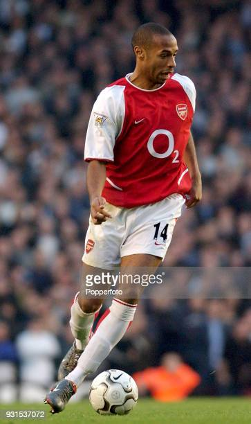 Thierry Henry of Arsenal in action during the FA Barclaycard Premiership match between Arsenal and Tottenham Hotspur at Highbury in London on...