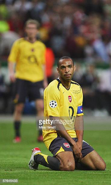Thierry Henry of Arsenal on his knees during the UEFA Champions League Final between Arsenal and Barcelona at the Stade de France on May 17 2006 in...