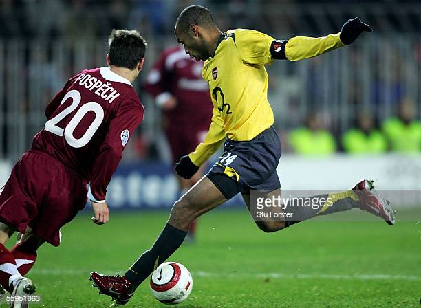 Thierry Henry of Arsenal scores his second goal and beats Ian Wrights all time goal scoring record for Arsenal during the UEFA Champions league Group...