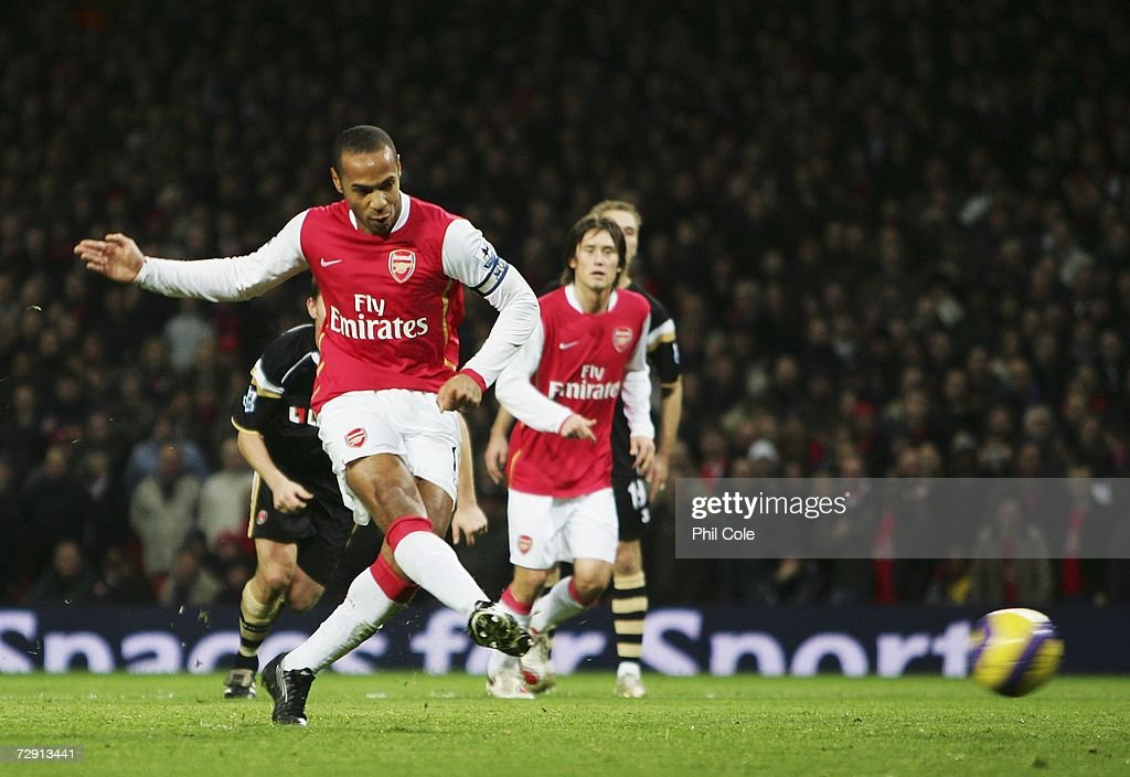 Thierry Henry of Arsenal scores their first goal from the penalty spot during the Barclays Premiership match between Arsenal and Charlton Athletic at the Emirates Stadium on January 2, 2007 in London, England.