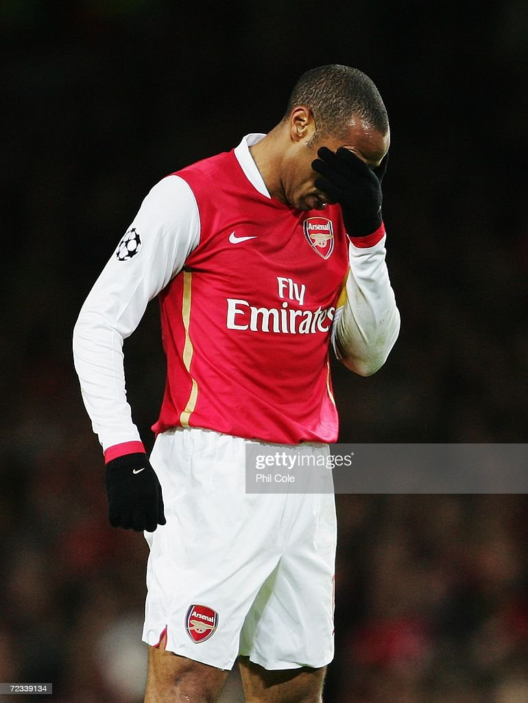 Thierry Henry of Arsenal shows his disappointment as a chance for his team goes wide during the UEFA Champions League Group G match between Arsenal and CSKA Moscow at The Emirates Stadium on November 1, 2006 in London, England.