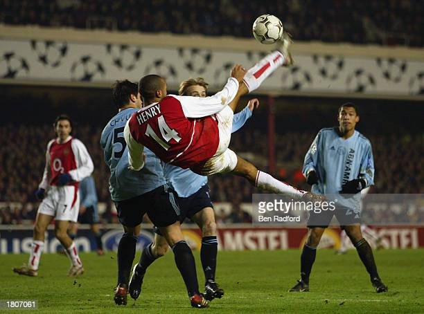 Thierry Henry of Arsenal tries a bicycle kick at goal during the UEFA Champions League Second Phase Group B match between Arsenal and Ajax held on...