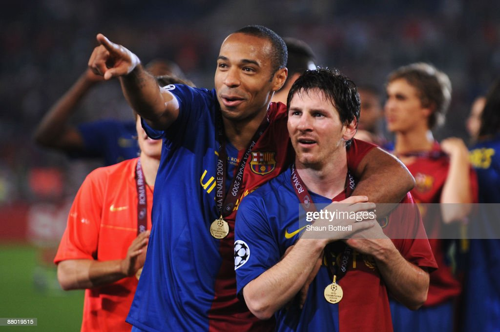 Thierry Henry of Barcelona and Lionel Messi of Barcelona celebrate winning the UEFA Champions League Final match between Manchester United and Barcelona at the Stadio Olimpico on May 27, 2009 in Rome, Italy. Barcelona won 2-0.