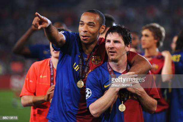 Thierry Henry of Barcelona and Lionel Messi of Barcelona celebrate winning the UEFA Champions League Final match between Manchester United and...