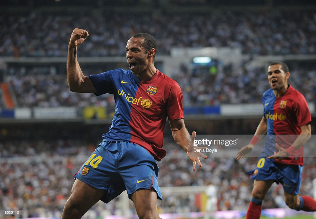 Thierry Henry of Barcelona celebrates after scoring Barcelona's fourth goal during the La Liga match between Real Madrid and Barcelona at the Santiago Bernabeu stadium on May 2, 2009 in Madrid, Spain.