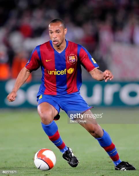 Thierry Henry of Barcelona controls the ball during the La Liga match between UD Almeria and Barcelona at the Estadio de los Juegos Mediterraneos on...