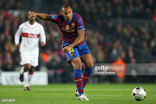 Thierry Henry of Barcelona shoots the ball during the UEFA Champions League round of sixteen second leg match between FC Barcelona and VfB Stuttgart...
