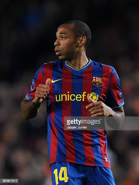 Thierry Henry of FC Barcelona follows the game during the UEFA Champions League group F match between FC Barcelona and Inter Milan at the Camp Nou...