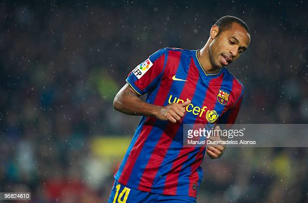 Thierry Henry of FC Barcelona looks on during the La Liga match between Barcelona and Sevilla at the Camp Nou stadium on January 16, 2010 in...