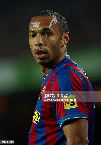 Thierry Henry of FC Barcelona looks on during the La Liga match between Barcelona and Osasuna at the Camp Nou Stadium on March 24, 2010 in Barcelona,...