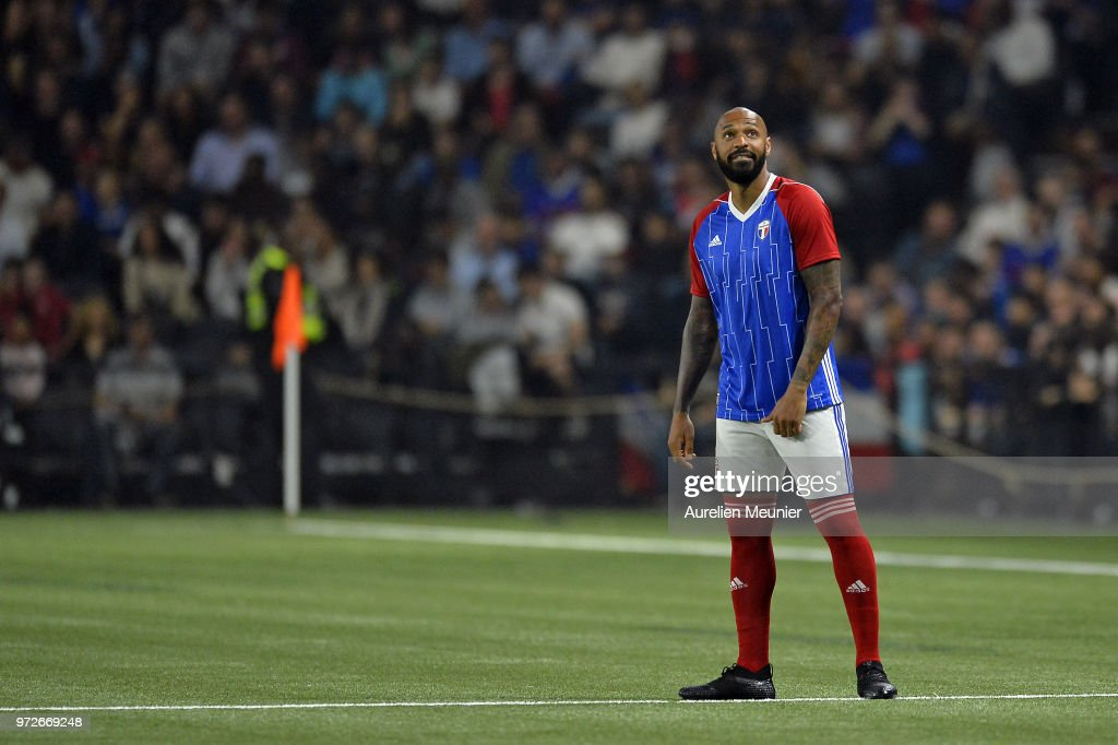 Thierry Henry of France 98 reacts during the friendly match between France 98 and FIFA 98 at U Arena on June 12, 2018 in Nanterre, France.