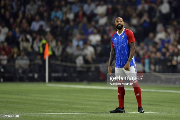 Thierry Henry of France 98 reacts during the friendly match between France 98 and FIFA 98 at U Arena on June 12 2018 in Nanterre France