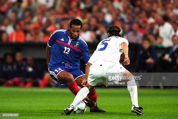 Thierry Henry of France and Fabio Cannavaro of Italy during the final of the Football European Championships between France and Italy in Rotterdam,...