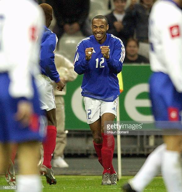 Thierry Henry of France celebrates after a French goal during the international friendly match between France and Yugoslavia at Stade de France,...