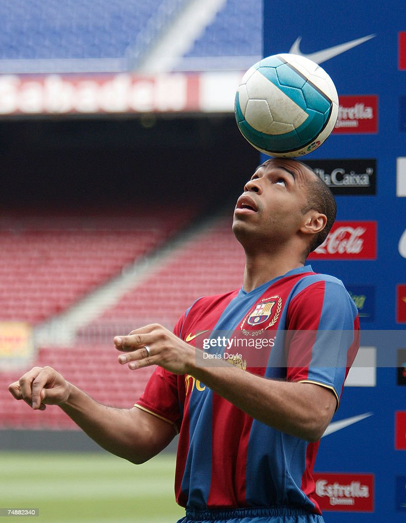 Thierry Henry of France controls the ball at the Camp Nou stadium during his presentation for Barcelona on June 25, 2007 in Barcelona, Spain.