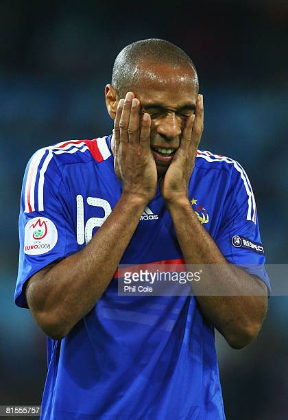 Thierry Henry of France holds his face in frustration during the UEFA EURO 2008 Group C match between Netherlands and France at Stade de Suisse...