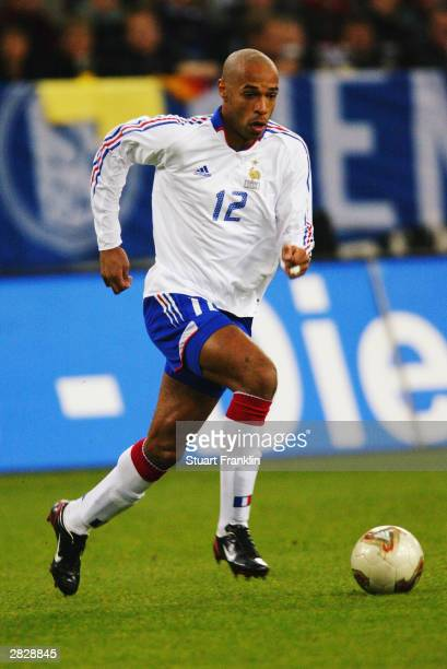 Thierry Henry of France in action during the International friendly match between Germany and France on November 15, 2003 at The Arena Auf Schalke,...
