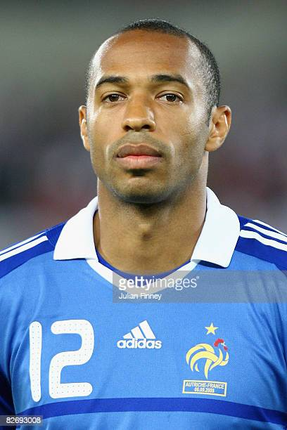 Thierry Henry of France looks on before the FIFA2010 World Cup Qualifier Group 7 match between Austria and France at the ErnstHappel Stadium on...