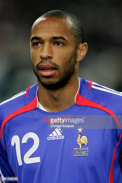 Thierry Henry of France looks on before the international friendly match between France and Germany at the Stade de France on November 12 2005 in...