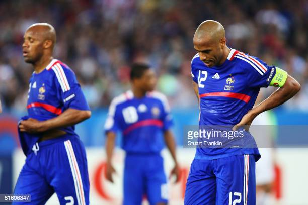 Thierry Henry of France looks to the ground during the UEFA EURO 2008 Group C match between France and Italy at Letzigrund Stadion on June 17 2008 in...
