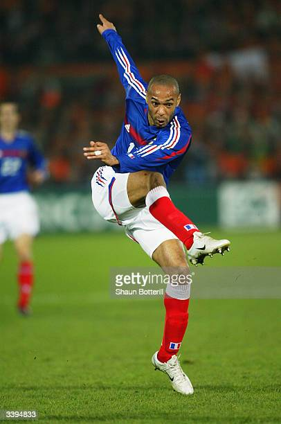 Thierry Henry of France shoots at goal during the International Friendly match between Holland and France held on March 31 2004 at the Feyenoord...