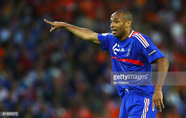 Thierry Henry of France signals to a team mate during the UEFA EURO 2008 Group C match between Netherlands and France at Stade de Suisse Wankdorf on...