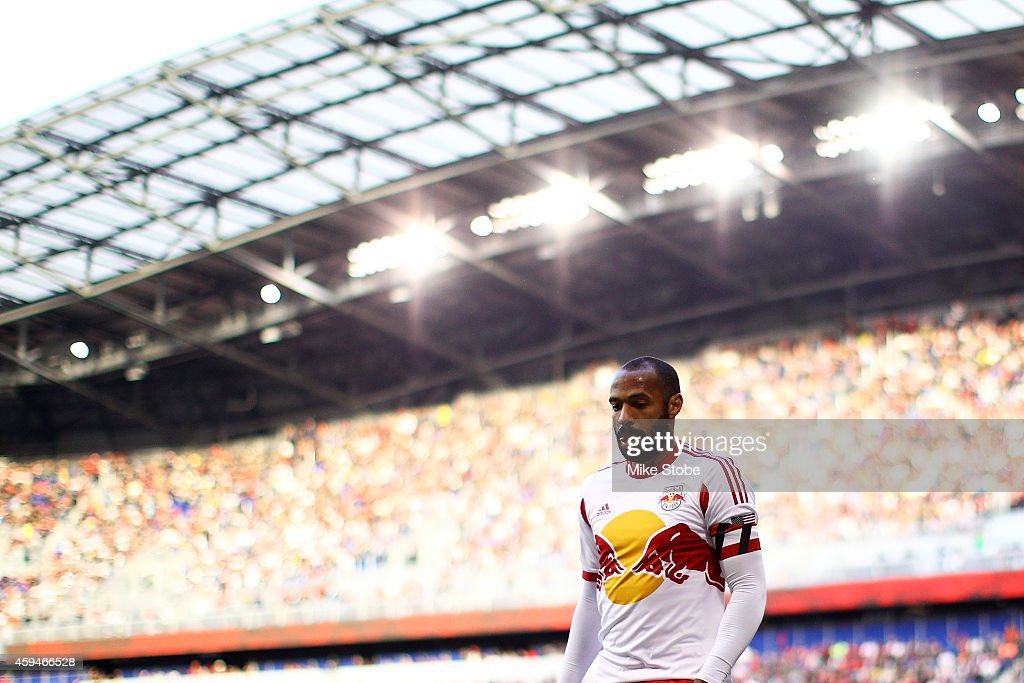 Thierry Henry #14 of New York Red Bulls looks on against the New England Revolution during the Eastern Conference Final - Leg 1 at Red Bull Arena on November 23, 2014 in Harrison, New Jersey. Revolution defeated the Red Bulls 2-1.