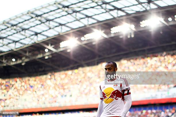 Thierry Henry of New York Red Bulls looks on against the New England Revolution during the Eastern Conference Final - Leg 1 at Red Bull Arena on...
