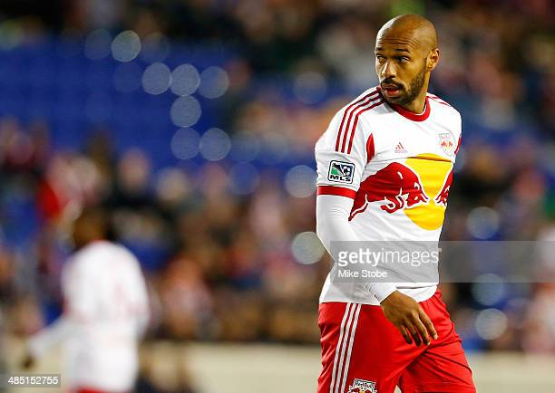 Thierry Henry of New York Red Bulls looks on during the game against the Philadelphia Union at Red Bull Arena on April 16, 2014 in Harrison, New...
