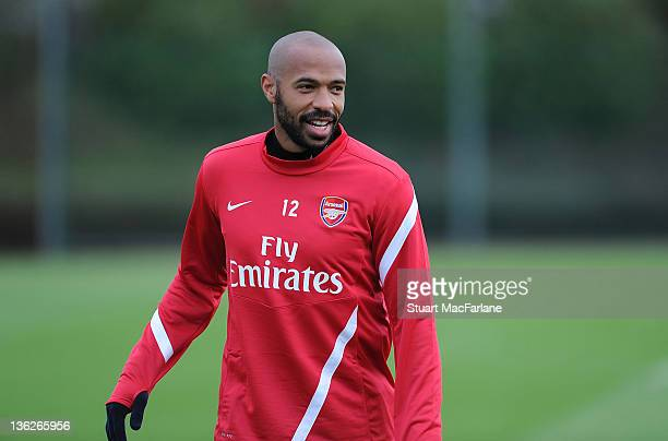 Thierry Henry of the New York Red Bulls attends an Arsenal training session at London Colney on December 30, 2011 in St Albans, England.