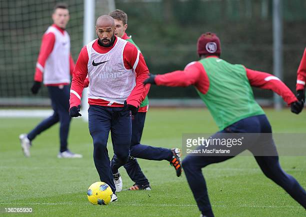 Thierry Henry of the New York Red Bulls during an Arsenal training session at London Colney on December 30, 2011 in St Albans, England.