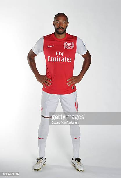 Thierry Henry of the New York Red Bulls signs on loan for Arsenal at London Colney on January 5 2012 in St Albans England
