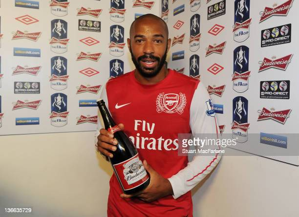 Thierry Henry recieves the man of the match award after the FA Cup Third Round match between Arsenal and Leeds United at Emirates Stadium on January...