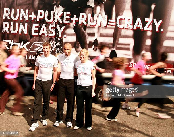 Thierry Henry, Steve Cram and Carolina Kluft during Reebok: Run Easy - Photocall - April 10, 2007 at Winchester House in London, United Kingdom.