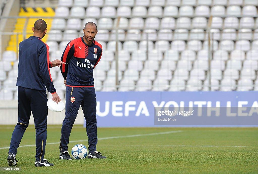Thierry Henry, the Arsenal U19 Coach before the match between Bayern Munich U19 and Arsenal U19 at Grunwalder Stadion on November 4, 2015 in Munich, Germany.