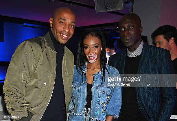 Thierry Henry Winnie Harlow and Ozwald Boateng attend the NBA Global Game London 2017 after party at The O2 Arena on January 12 2017 in London England