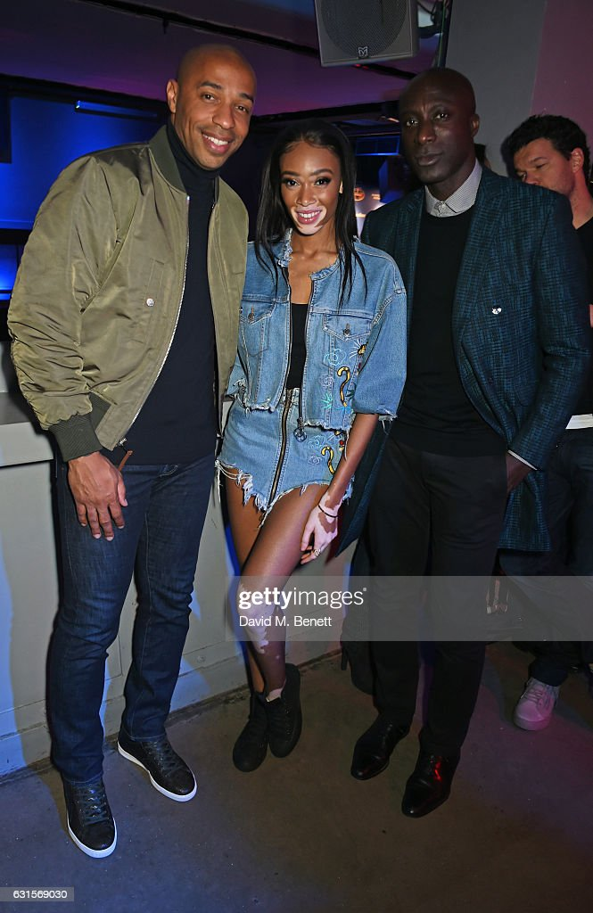 Thierry Henry, Winnie Harlow and Ozwald Boateng attend the NBA Global Game London 2017 after party at The O2 Arena on January 12, 2017 in London, England.