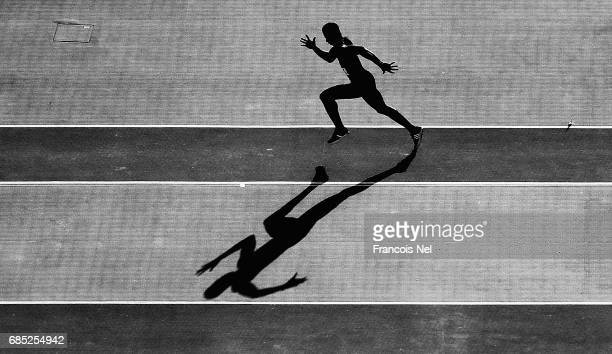Thierry Konan of Ivory Coast competes in the Mens Long Jump Final during day eight of Baku 2017 4th Islamic Solidarity Games at the Baku Olympic...