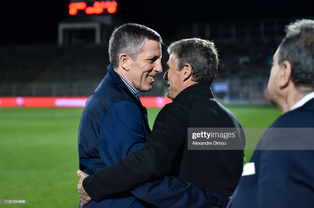 29 EME JOURNEE DE LIGUE 1 CONFORAMA : NÎMES OLYMPIQUE - RACING CLUB DE STRASBOURG ALSACE  - Page 2 Thierry-laurey-head-coach-of-strasbourg-and-bernard-blaquart-head-of-picture-id1131034898
