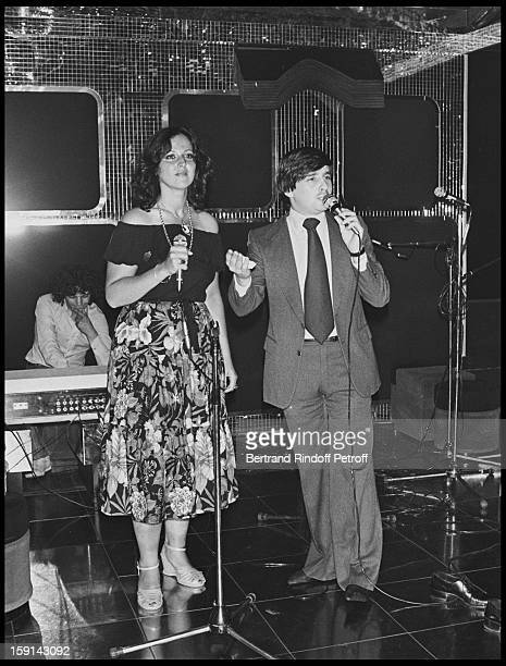 Thierry Le Luron on stage during a party at Elysee Matignon night club in Paris in 1977
