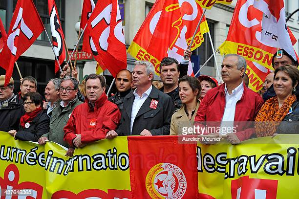 Thierry Lepaon the leader of the CGT Union attends the annual May Day demonstrations on 1st May in Paris France Trade unionists and anticapitalist...