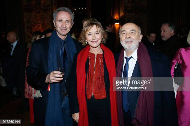 Thierry Lhermitte MarieAnne Chazel and Gerard Jugnot attend the Charity Gala against Alzheimer's disease Cocktail at Hotel Salomon de Rothschild on...