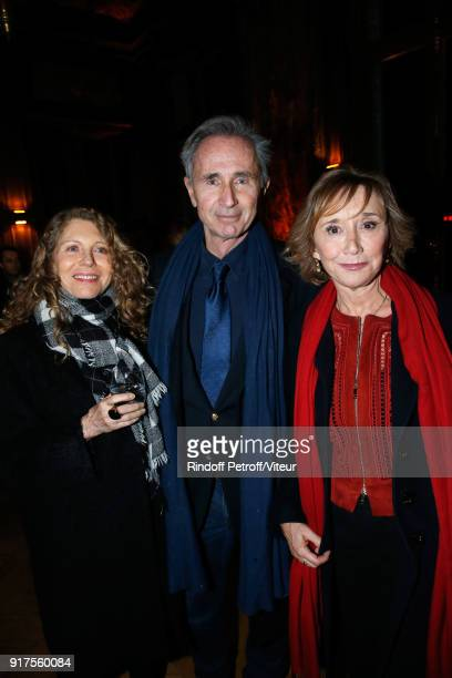 Thierry Lhermitte with his wife Helene and MarieAnne Chazel attend the Charity Gala against Alzheimer's disease Cocktail at Hotel Salomon de...