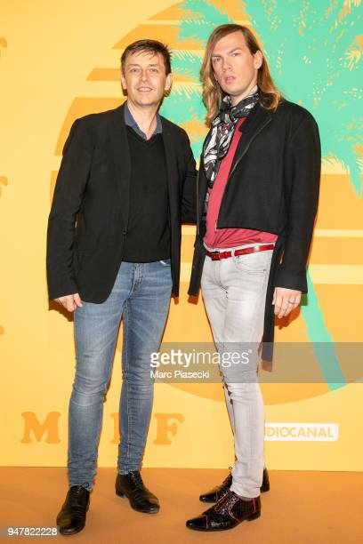 Thierry Marsaux and fashion designer Christophe Guillarme attend the 'MILF' Premiere at Cinema Gaumont Capucine on April 17, 2018 in Paris, France.