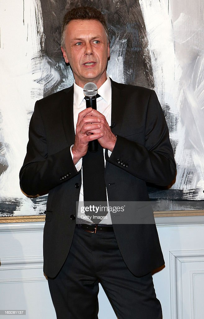 Thierry Metroz, Head of Citroen Design, delivers a speech during the charity auctioning of the first 'Citroen DS3 Cabrio L'Uomo Vogue' hosted by L'Uomo Vogue and Citroen at the Permanent Mission of France to the United Nations Office on March 6, 2013 in Geneva, Switzerland.